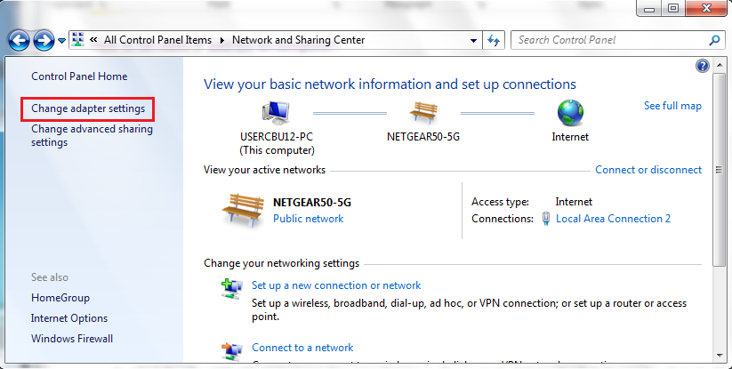 Network and sharing centre picture
